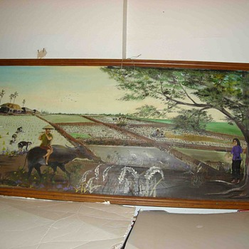 8 feet wide Asian Mural Sized Painting