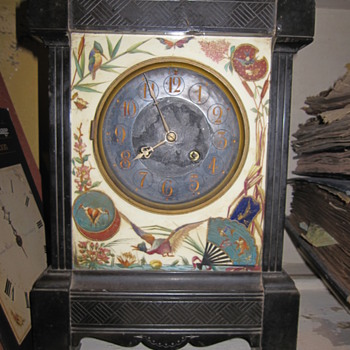 Black Antique Mantel Clock Unknown Maker with Enamel - Clocks