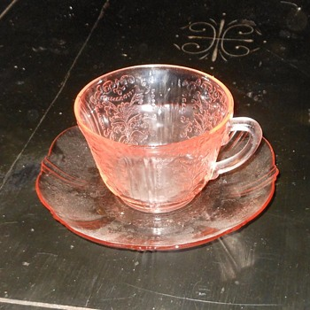 Pink Depression Glass Cup and Saucer American Sweetheart Pattern - Glassware