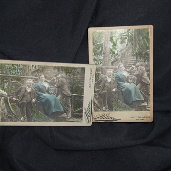 Unusual pair of tinted Sarony Cabinet Cards - Photographs
