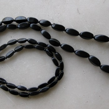 Black jet beads restrung from loose bag o'beads