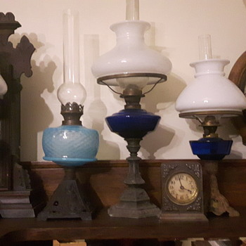 Shades of blue oil lamps
