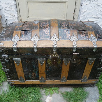 Antique Trunk Painted Black Refinished Circa 1880's