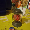 Glass Candy Holder, Train Lantern, Full Of Red Hots