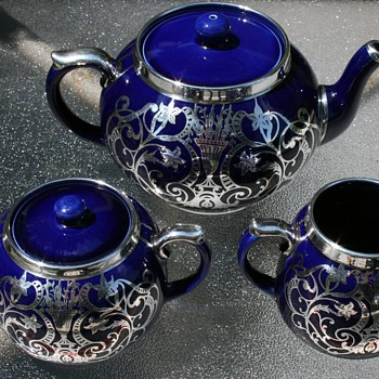 Silver Overlay Tea Set ~ Maker?