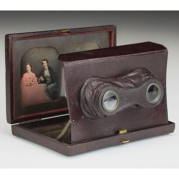Baker's Stereo Daguerreotype Viewing Case with Original Image Pair, mid-1850s - Cameras