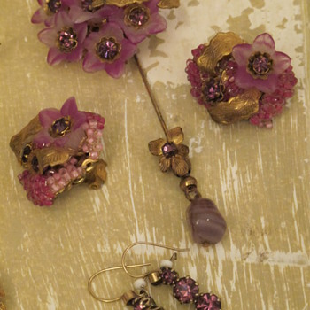 Miriam Haskell Pin &amp; Earrings - Costume Jewelry