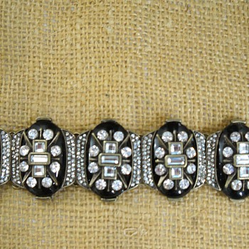 Vintage? Art Deco Black Lucite Rhinestone Bracelet - Costume Jewelry
