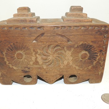 Finely Carved Folk Art Box - Walnut - Date and Origin Unknown