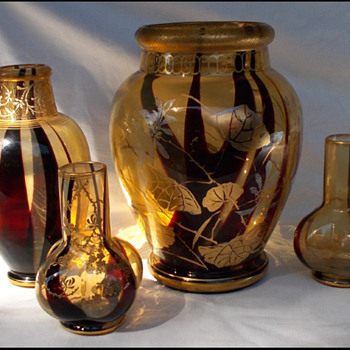 4 FABULOUS  HARRACH VASES  - Art Glass