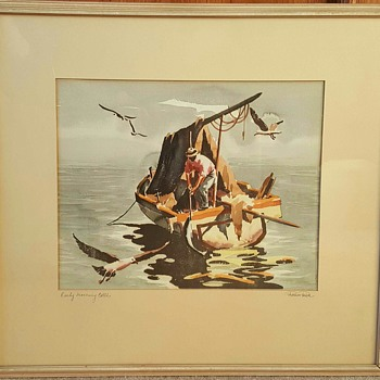 "Water Colour Print ""Early Morning Catch"" by Ramon Price - Mid-Century Modern"