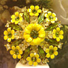 Excellent Multiple Flower's and Rhinestone Enamel Brooch