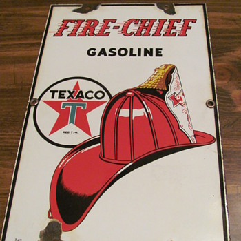 "FINALLY!!!  got my ""baby sized"" Texaco Fire Chief sign - Petroliana"