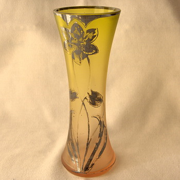 Unusual Goldberg Graduating Light Verde to Rosa Matte Glass Silver Deposit Etched Tulip Vase - Art Glass