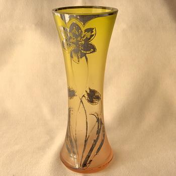 Unusual Goldberg Graduating Light Verde to Rosa Matte Glass Silver Deposit Etched Tulip Vase