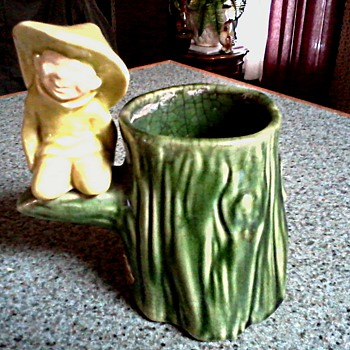 Cute Little Pixie Tree Trunk Planter / Partial Label / Unknown Maker and Age - Art Pottery