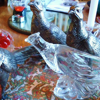 Pheasants, 3 Silver Plate WB MFG Co. and Heisey glass Pheasant - Animals