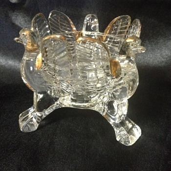 Jeannette Glass Eagle Candle Holder - Glassware