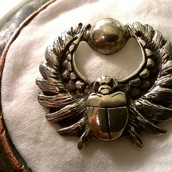 Egyptian Revival Sterling Silver Flying Scarab Pendant Signed KALI - Who's Kali?