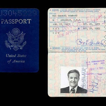 Passport of Rex Humbard- well-known television evangelist