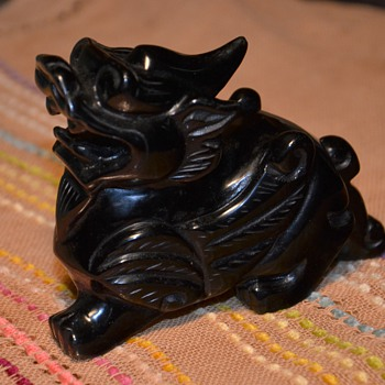 Carved Obsidian Kylin / Quyrin / Kirin - Asian