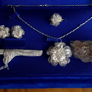 Indonesian .900 Silver Filigree Wedding Jewelry