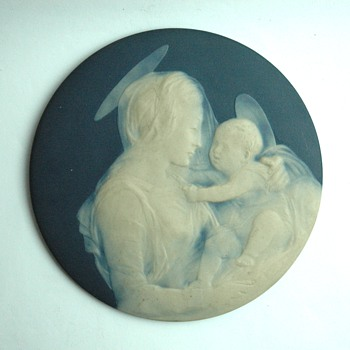french limoges porcelain plaque with religious scene. by CAMILLE THARAUD