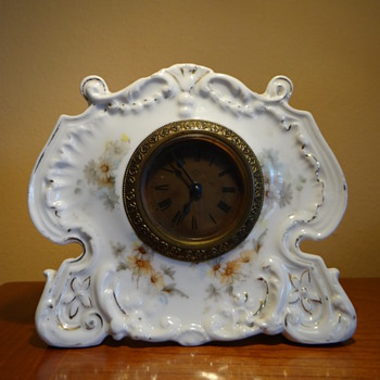 ANTIQUE ANSONIA FAVOR PORCELAIN CLOCK C.1901