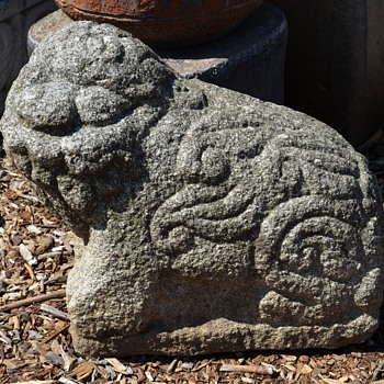 Ancient Carved Granite Guardian Lions or Shishi - Asian