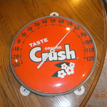 "12"" ORANGE CRUSH THERMOMETER - Signs"