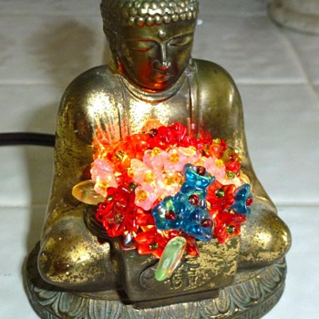 CZECH MINIATURE BUDDHA LAMP.