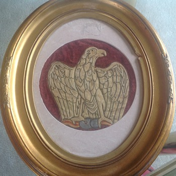 Victorian embroidered eagle I  frame