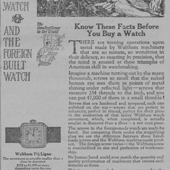 1919 - Waltham 7 1/2 Ligne Wristwatch Advertisement - Advertising