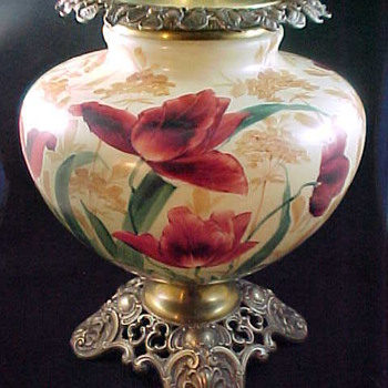 Victorian Era P&A Plume and Atwood Hand Painted Glass Red Flowers Electrified Parlor Lamp - Lamps