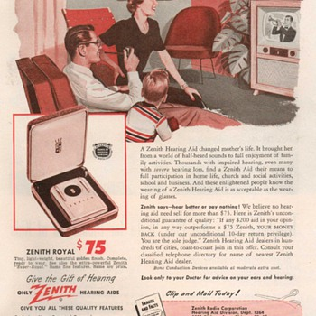 "1951 - Zenith ""Royal"" Hearing Aid Advertisement - Advertising"