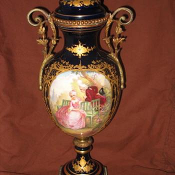 Sevres Chateau De Longpre Ormolu and Cobalt Blue Vase - Victorian Era