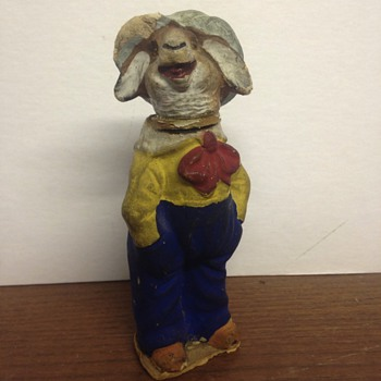 Plaster or chalk ware sheep/rabbit character with glass eyes