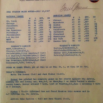 NEW YORK METS PRESS RELEASE 1967