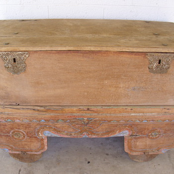 very old trunk/box with old cart with wooden wheels need any info on it - Furniture