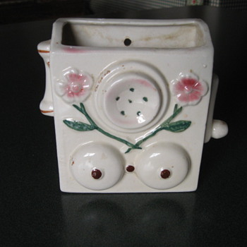 Telephone Design Wall Pocket - Art Pottery