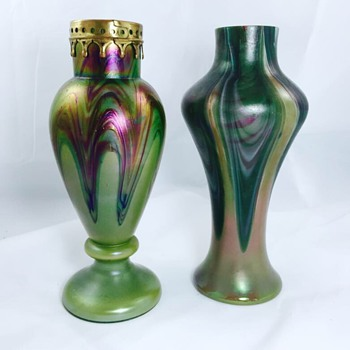 Rindskopf Purple Metal Collar & Green Feathered Iridescent Pair Vases