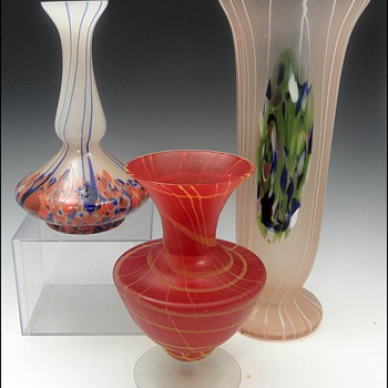 A Three Piece Czech Grouping - Art Glass