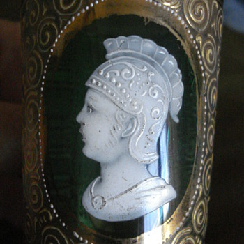 Small Mary Gregory emerald cup unusual figure