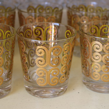Culver 22k High and Low Ball Glasses