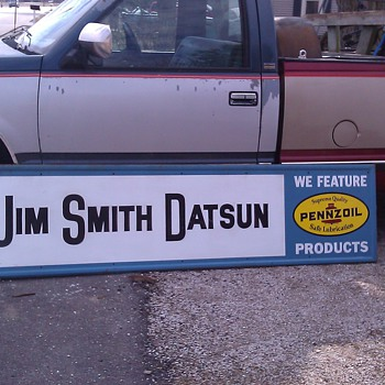 JIM SMITHS DATSUN DEALERSHIP PENNZOIL SIGN PEORIA, IL - Signs