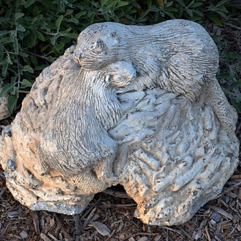 Beaver Family and Lodge Garden Ornaments