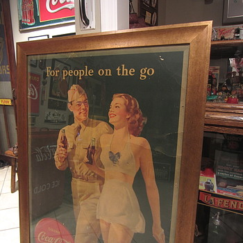 1944 Coca Cola cardboard sign WW2 issue - Coca-Cola