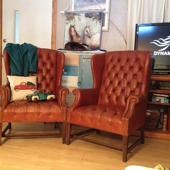 vintage wing back leather chairs