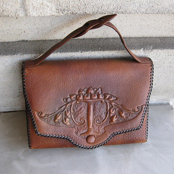 1920's tooled leather handbag