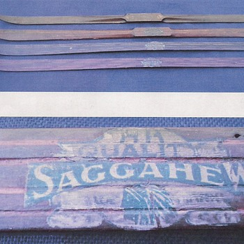 wooden salesman&#039;s sample skis, c. 1900